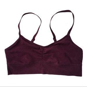 Aerie S burgundy red cotton bralette